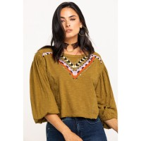 Free People Women's Hand Me Down Top Women Embroidered Shirt YGLWG6781