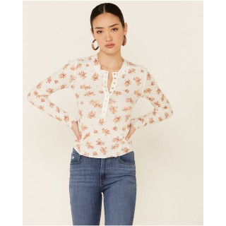 Free People Women's One Of The Girls Printed Thermal Top Women Long Sleeve Shirt Formal 2021 SFFH1174