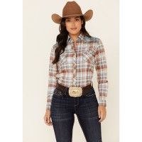 Panhandle Women's Rust Copper Plaid Embroidered Stretch Long Sleeve Snap Western Core Shirt Women Long Sleeve Shirt Formal G16CP2279