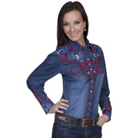 Scully Women's Floral Embroidered Long Sleeve Western Shirt Women Long Sleeve Shirt UF3G85603